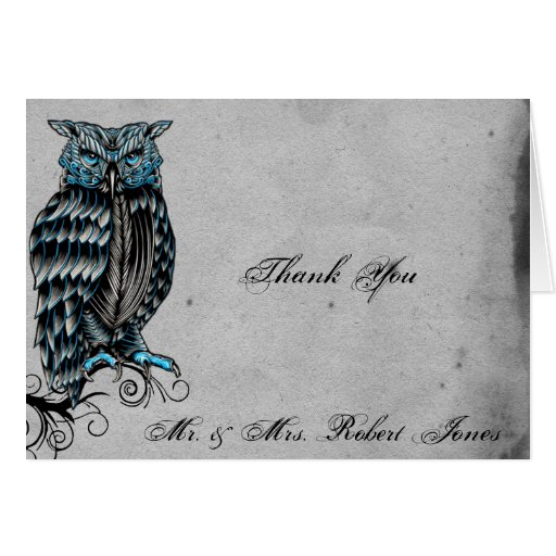 Blaue gotische Eulen-vornehme Hochzeit danken Ihne Grußkarte