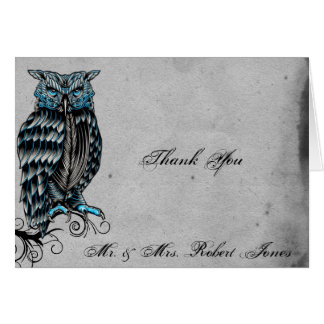 Blaue gotische Eulen-vornehme Hochzeit danken Karte