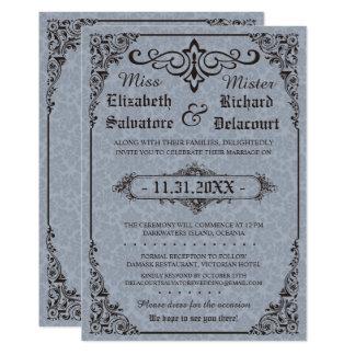 Blaue gotische viktorianische Damast-Hochzeit lädt Karte