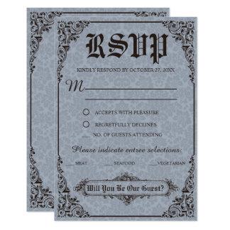 Blaue gotische viktorianische Damast-Hochzeit UAWG Karte