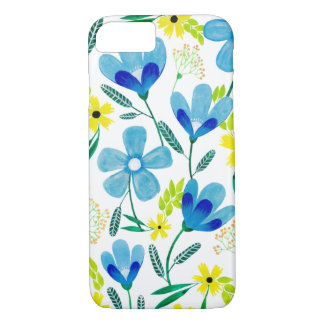 Blaue Gouache-Blumen iPhone 8/7 Hülle