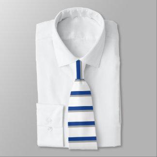 Blaue Grau-und weißec$horizontal-gestreifte Krawatte