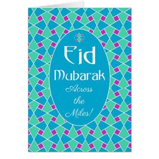 Blaue, grüne, lila Eid Karte, islamisches Muster Karte