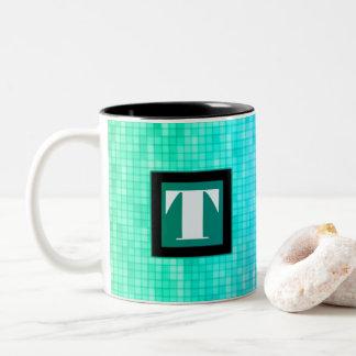 Blaue/grüne quadratische Muster-Initialen-Schale Zweifarbige Tasse