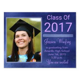 Blaue Grunge-Klasse von Abschluss-Foto 2017 Karte