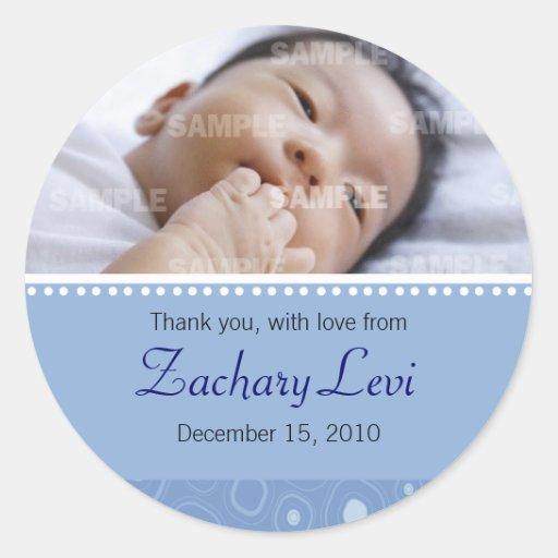 Blaue Gumdrop-Baby-Mitteilung Runde Sticker