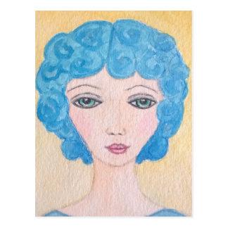 Blaue Haarfrau Postkarte