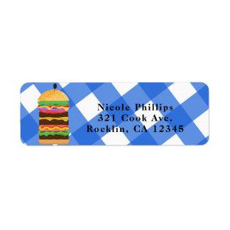 Blaue Hamburger-Sommercookout-Grill-Einladung Rückversand-Adressaufkleber