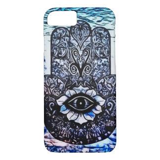 Blaue Hamsa Augen-Kunst Nouveau iPhone 8/7 Hülle