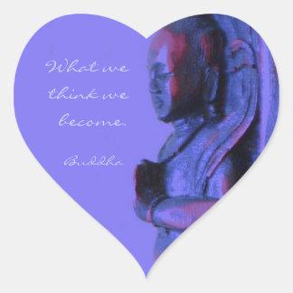 Blaue Hand geschnitzter Buddha Herz-Aufkleber