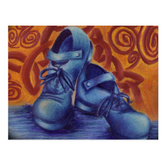 Blaue harte Schuhe Postkarte