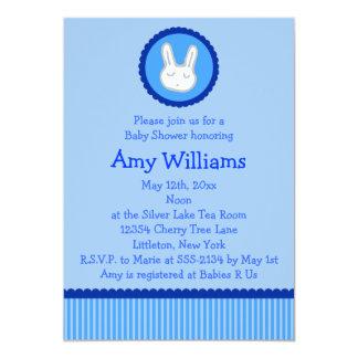 Blaue Häschen-Babyparty-Einladungen 12,7 X 17,8 Cm Einladungskarte