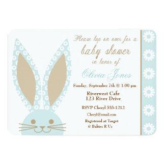 Blaue Häschen-Babyparty-Einladungsgewohnheit 12,7 X 17,8 Cm Einladungskarte