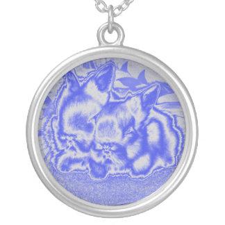 blaue Häschen-Halskette Halskette Mit Rundem Anhänger