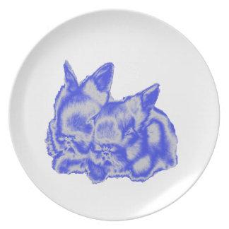 Blaue Häschen-Platte Teller