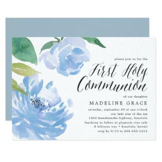 Blaue heilige Kommunions-Einladung der Karte