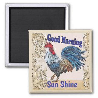 Blaue Hennen, guter Morgen, redigieren Text Quadratischer Magnet