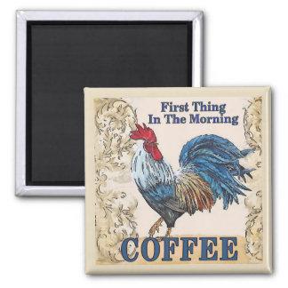 Blaue Hennen, Morgen-Kaffee Quadratischer Magnet