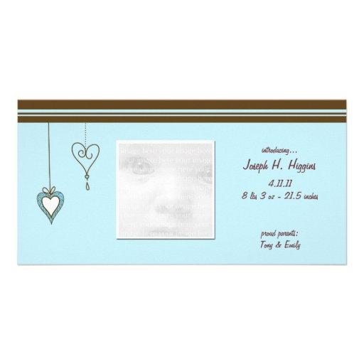 Blaue Herz-Baby-Mitteilungs-Foto-Karten Foto Karten