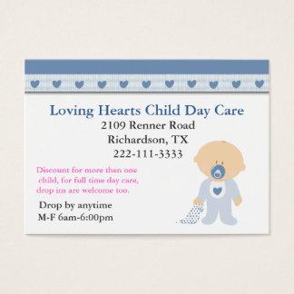 Blaue Herz-Kinderbetreuungs-Visitenkarte Visitenkarte