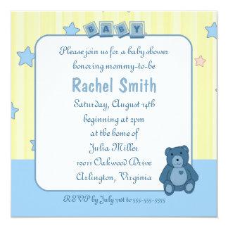 Blaue Herz Teddybu0026#228;r Babyparty Einladung Karte