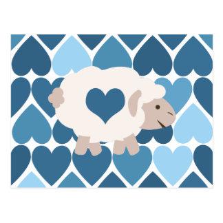 Blaue Herzen und niedliches Lamm Postkarte