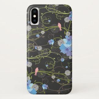 Blaue Hibiskus-Wirbels-Schwalben-Vogel-Blumenfall iPhone X Hülle