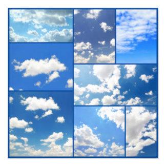 Blaue Himmel-u. Weiß-Wolken-Collage Fotodruck
