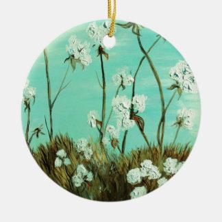 Blaue Himmel über Baumwolle Keramik Ornament