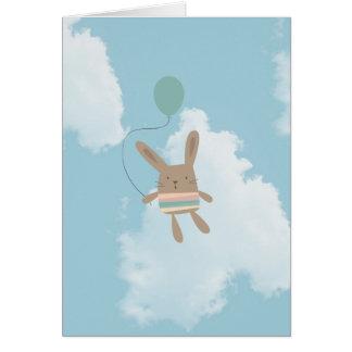 Blaue Himmel-Wolken-Häschen Grußkarte