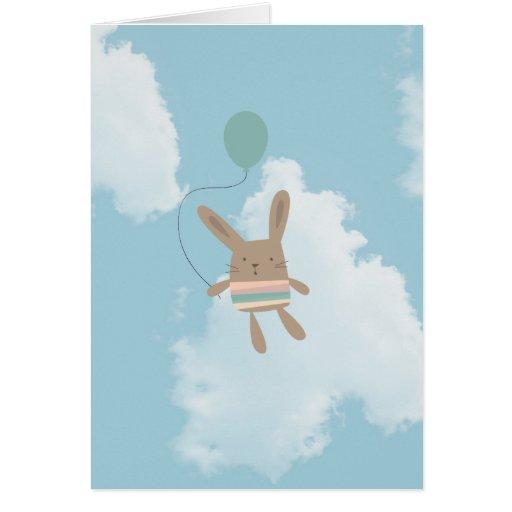 Blaue Himmel-Wolken-Häschen Grußkarten