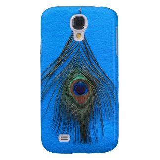 Blaue Hintergrund-Pfau-Feder Galaxy S4 Hülle