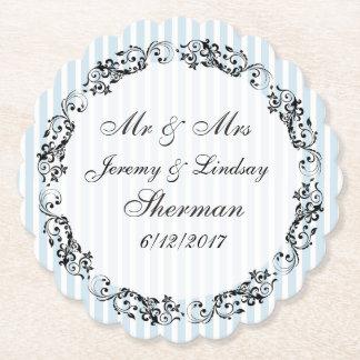 Blaue Hochzeits-personalisierter Untersetzer
