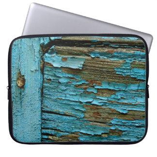 Blaue hölzerne Laptophülse Laptopschutzhülle
