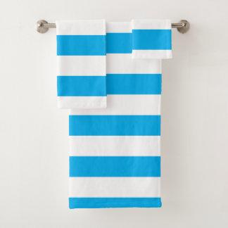 Blaue horizontale Streifen Badhandtuch Set