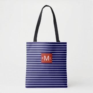 Blaue horizontale Streifen-rote Tasche
