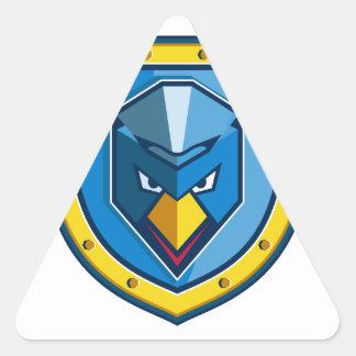 Blaue Huhn-Mohikaner-Schild-Ikone Dreieckiger Aufkleber