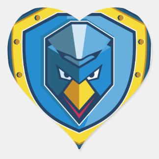 Blaue Huhn-Mohikaner-Schild-Ikone Herz-Aufkleber