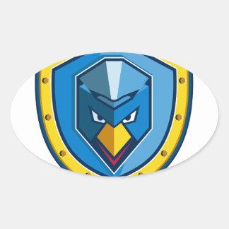 Blaue Huhn-Mohikaner-Schild-Ikone Ovaler Aufkleber