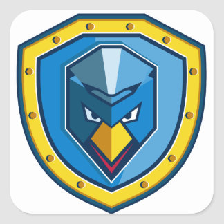 Blaue Huhn-Mohikaner-Schild-Ikone Quadratischer Aufkleber