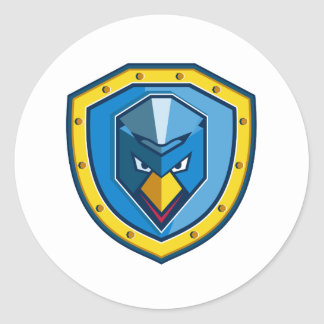 Blaue Huhn-Mohikaner-Schild-Ikone Runder Aufkleber