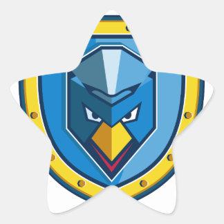 Blaue Huhn-Mohikaner-Schild-Ikone Stern-Aufkleber