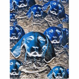 Blaue Hundecollage Freistehende Fotoskulptur