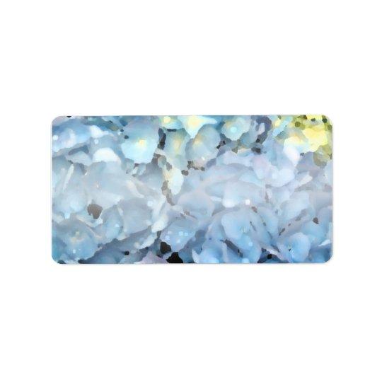 Blaue Hydrangea-Blumen Adressaufkleber