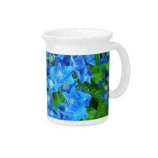 Blaue Hydrangea-Blumen. Blumenphotographie Krug