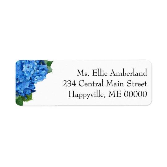 Blaue Hydrangea-Blumen-dünne Rücksendeadresse Rücksendeetiketten