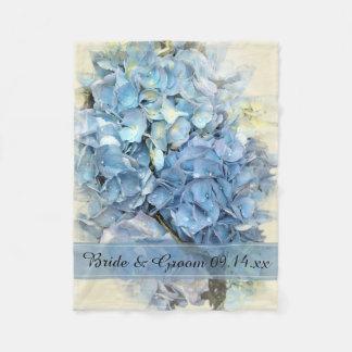 Blaue Hydrangea-Blumen-Hochzeit Fleecedecke