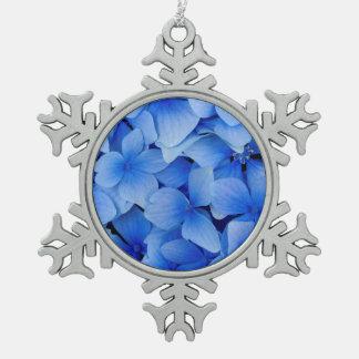 Blaue Hydrangea-Blumen Schneeflocken Zinn-Ornament