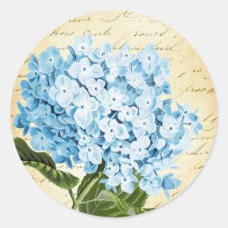 Blaue Hydrangea-Blumen-Vintages botanisches Runder Aufkleber