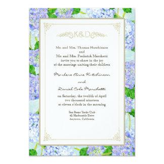 Blaue Hydrangea-Spitze-formale elegante mit 12,7 X 17,8 Cm Einladungskarte